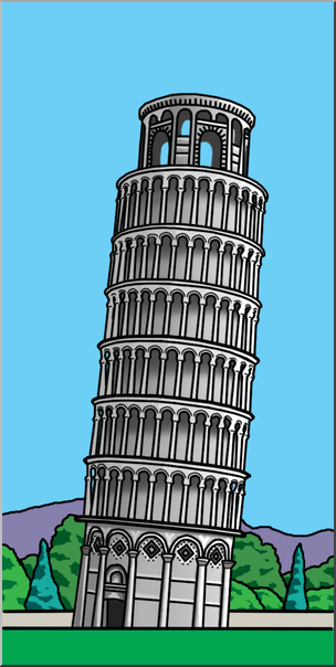 Clip Art: Leaning Tower of Pisa Color I abcteach.com.