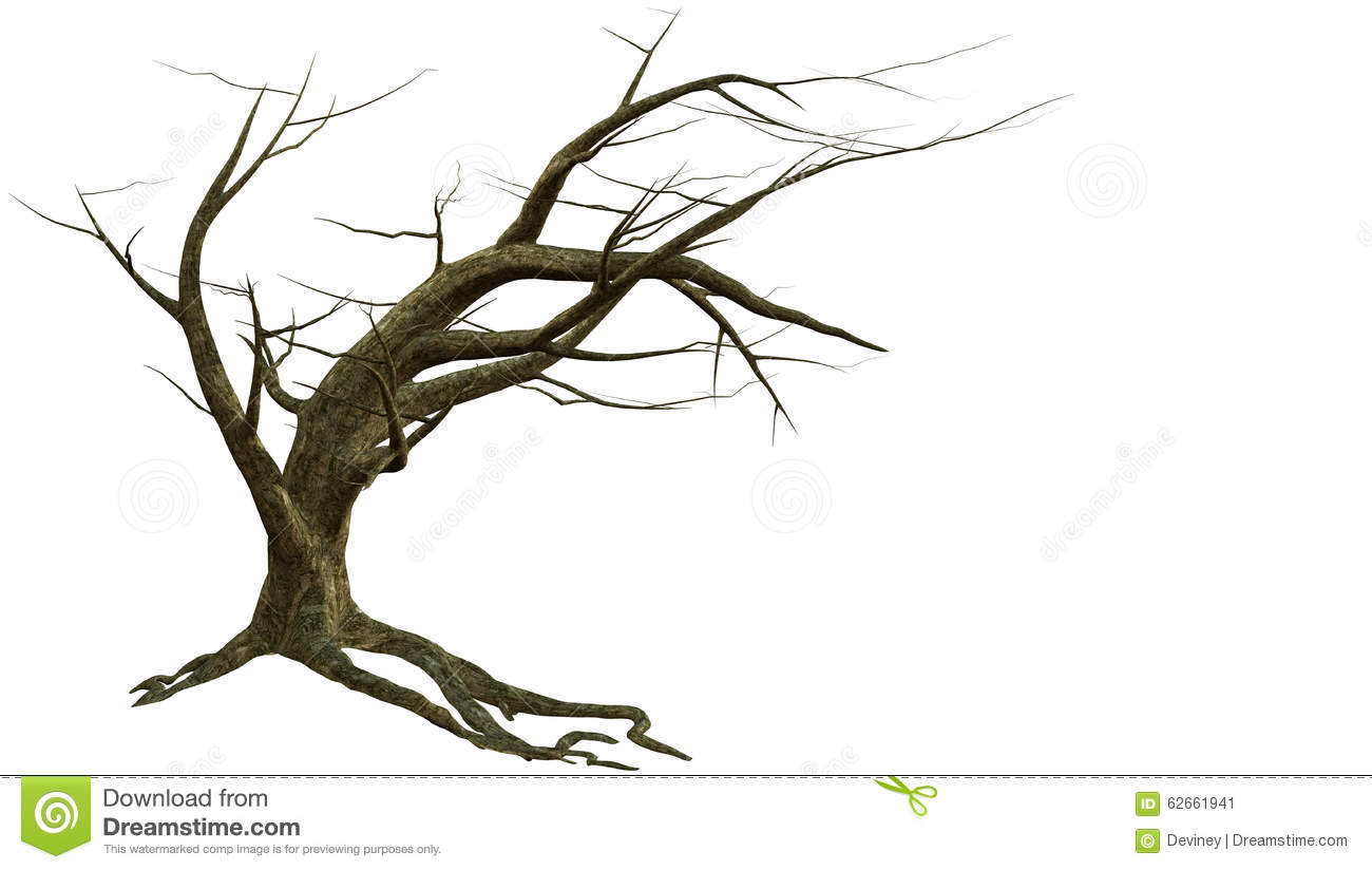 Leaning Tree With Bare Branches Stock Illustration.