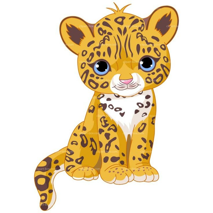 Baby leopard clipart.
