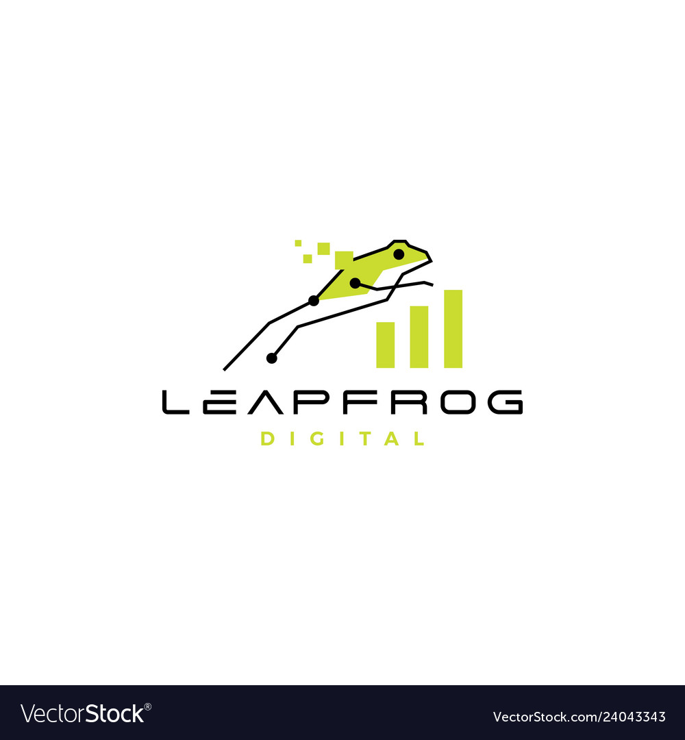 Leap frog tech digital chart statistics logo icon.