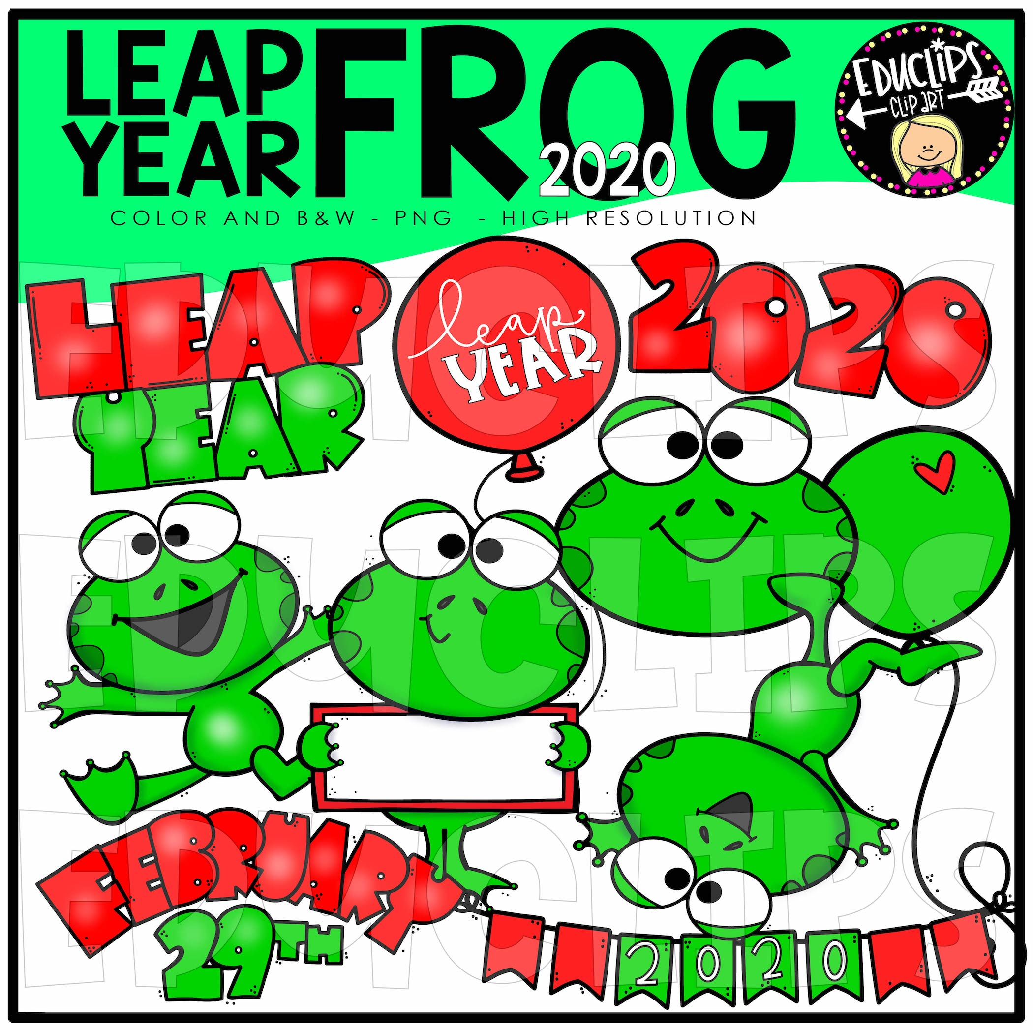Leap Year Frog Clip Art Bundle (Color and B&W).