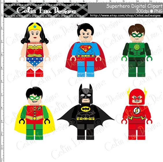 Super Hero Clipart(S007), Cute Superhero Lego clip art Personal.