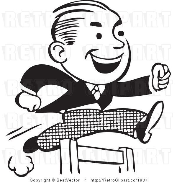 Retro clipart of hard working businessman jumping hurdles.