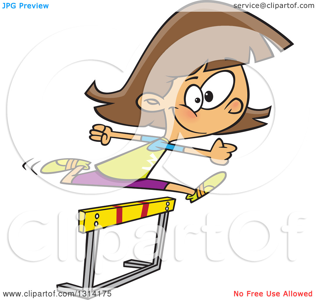 Clipart of a Track and Field Brunette White Girl Leaping a Track.