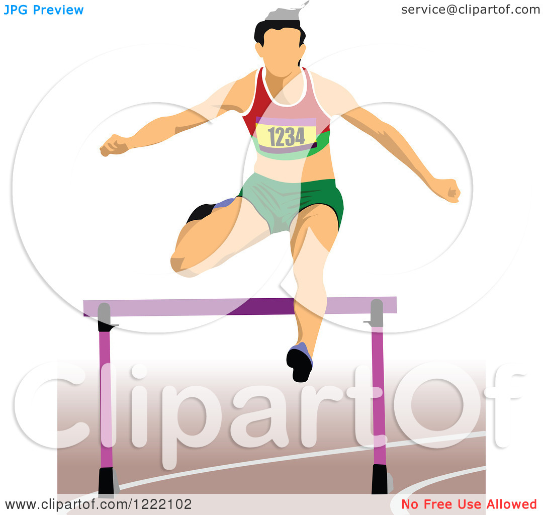 Clipart of a Track and Field Runner Leaping a Hurdle.