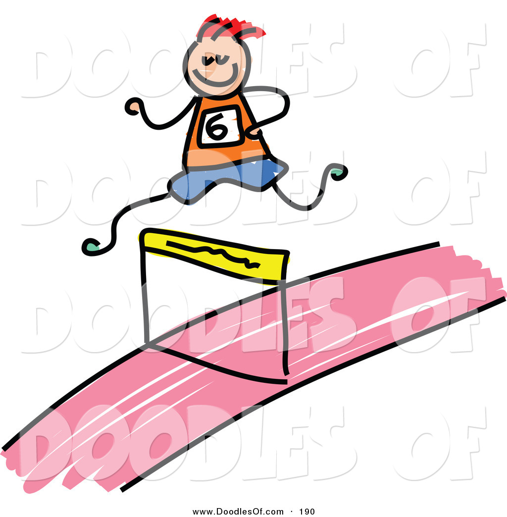 Vector Clipart of a Kid's Sketch of a Boy Leaping a Hurdle by.
