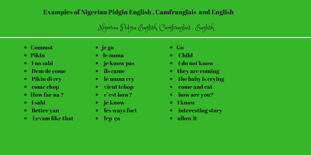 NIGERIAN PIDGIN ENGLISH.