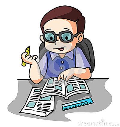 Illustrator Of School Boy Sitting On Table Stock Vector.