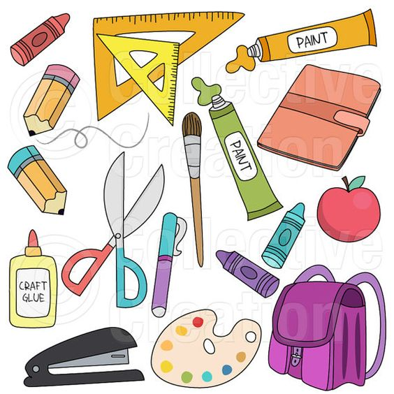 Zurück zu Schule Zubehör Digital Clip Art Clipart Set.