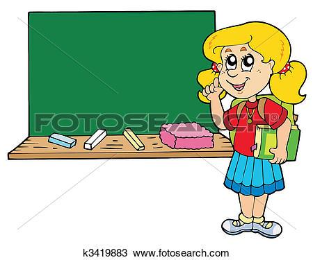 Clipart of Advising school boy with blackboard k3328321.