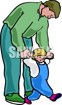 Royalty Free Clipart Image: Dad Helping His Son Learn to Walk.