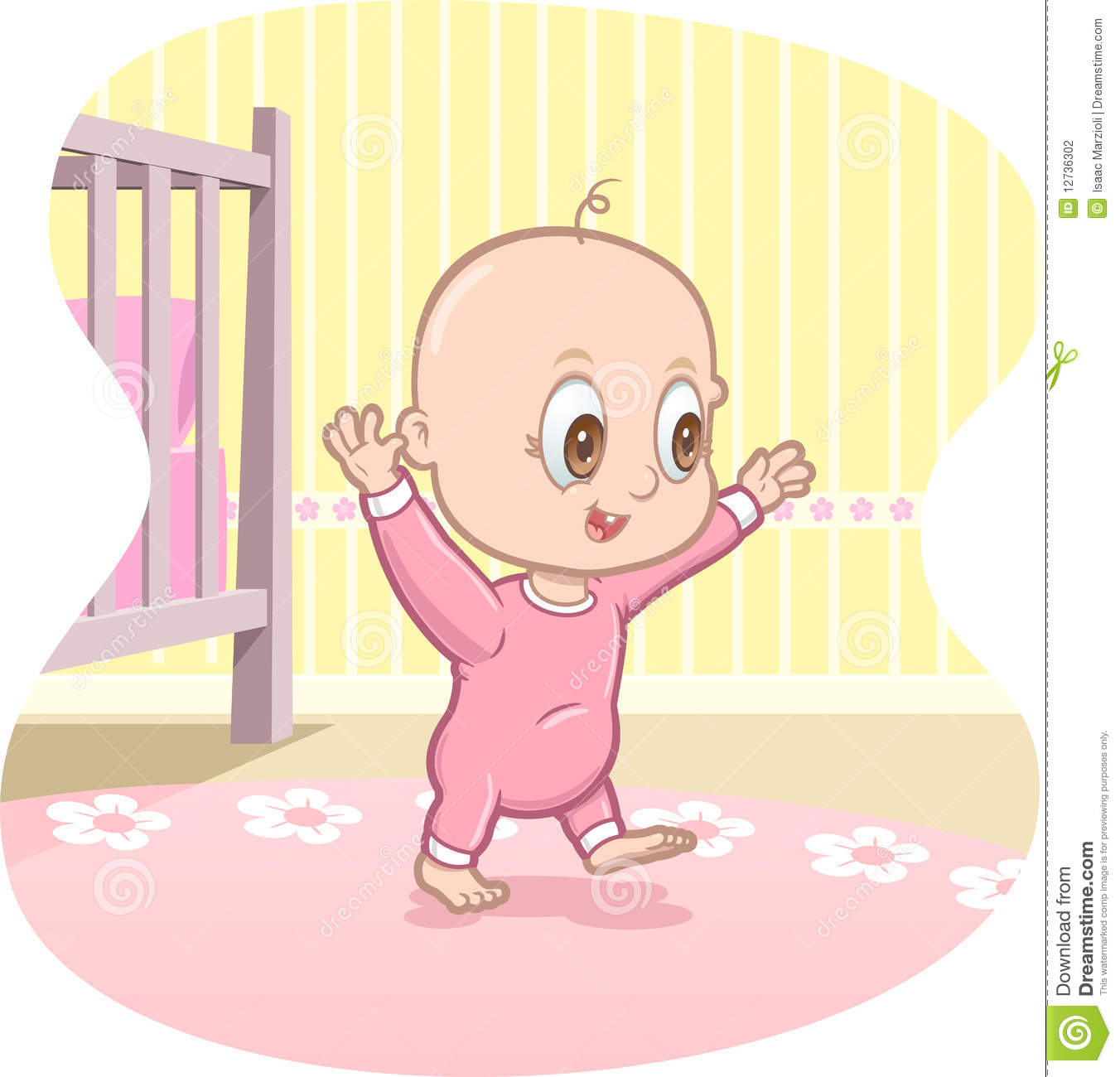 Baby learning to walk clipart.