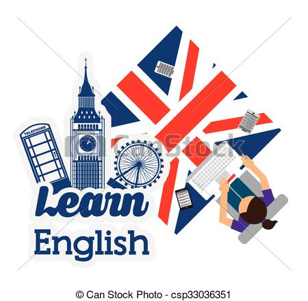 Clipart Vector of learn english design.