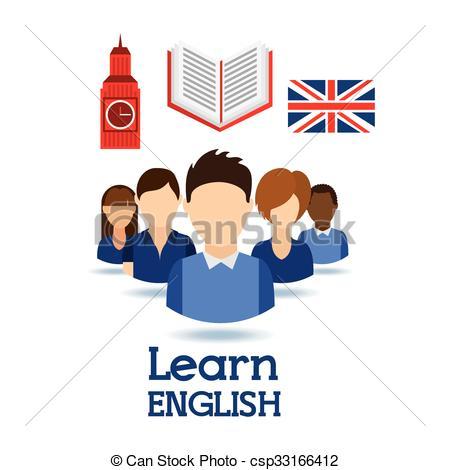 Vector Clip Art of learn english design.