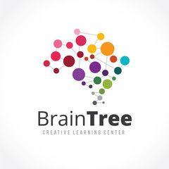 Creative idea logo,Brain logo,learning logo,education logo.