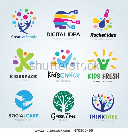 Creative Logo design set, Brand identity for kids, education.