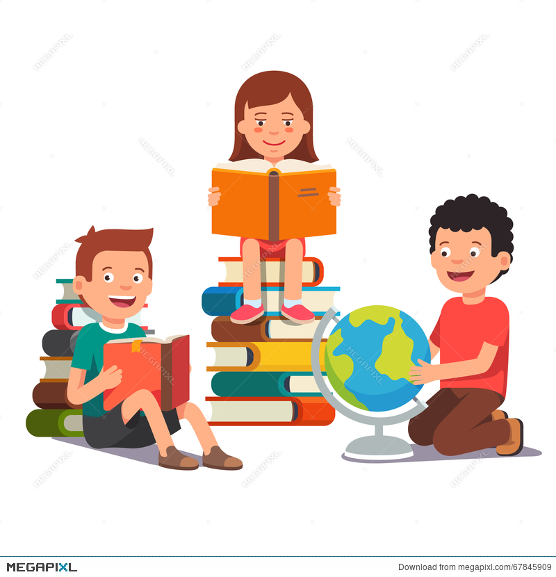 Group Of Kids Studying And Learning Together Illustration.