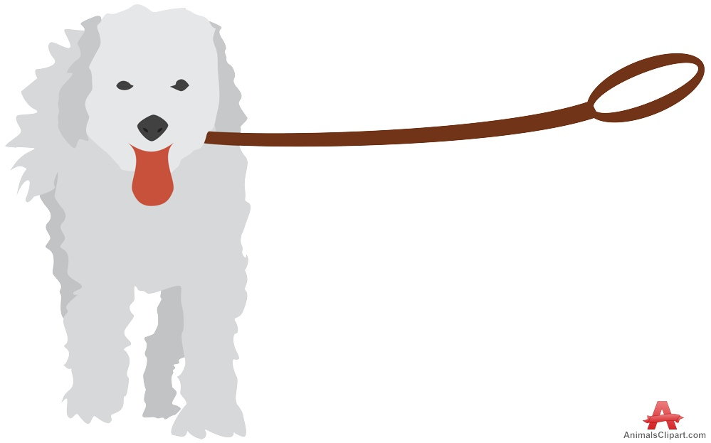 Leashed White Dog Clipart.