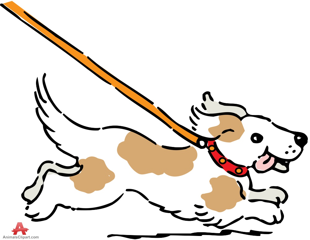 Leashed Dog Running Clipart.