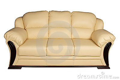 Cream Leather Sofa Royalty Free Stock Images.