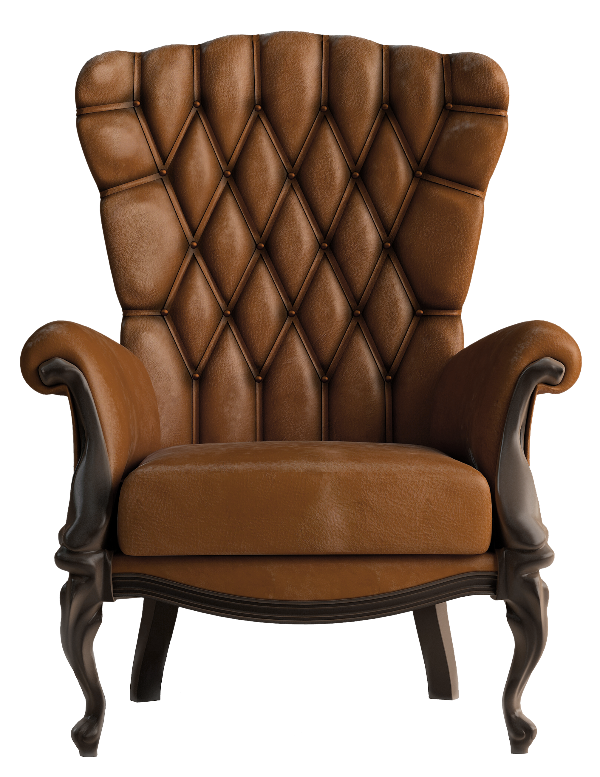 Transparent Brown Leather Chair PNG Clipart.