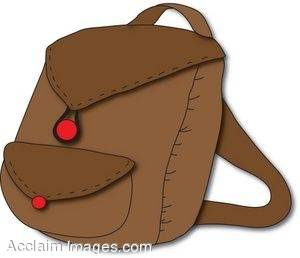 Clipart Illustration of a Brown Backpack.