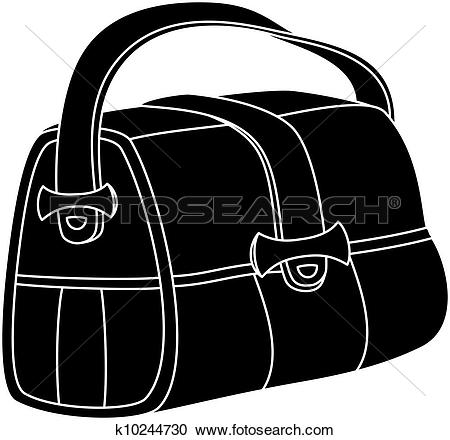 Clipart of Leather bag, silhouette k10244730.