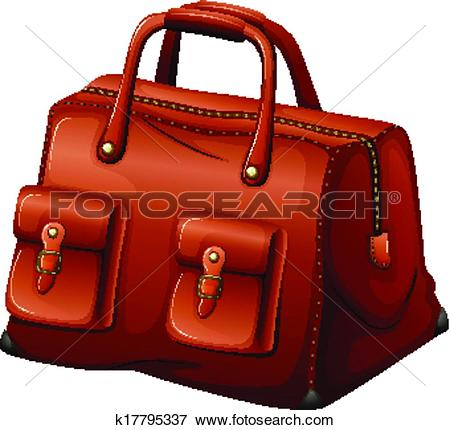 Clip Art of A maroon leather bag k17795337.