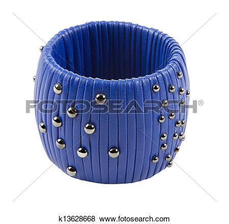 Pictures of Studded blue leather bracelet k13628668.