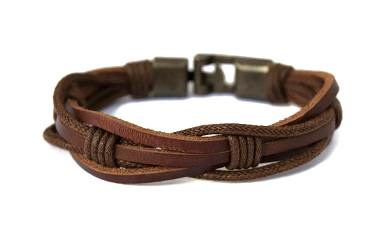 Mens Leather Bracelet Multi Strand Braided Rope Mens Bracelet.