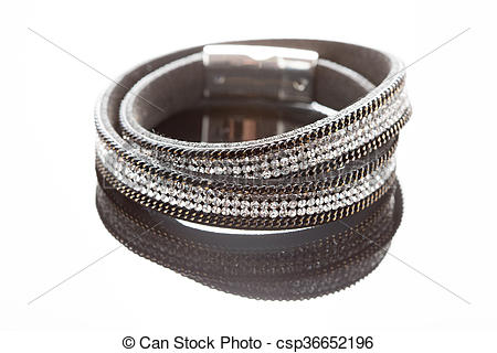 Stock Photographs of braided leather bracelet. white background.