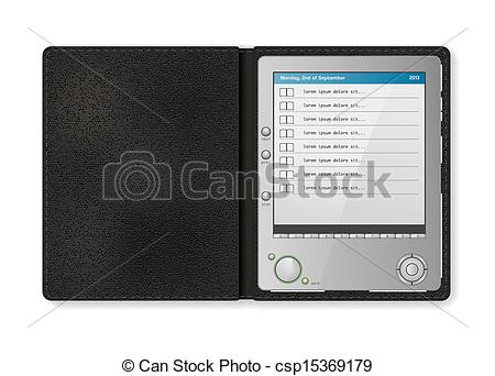 Vectors Illustration of touchscreen diary in leather case.