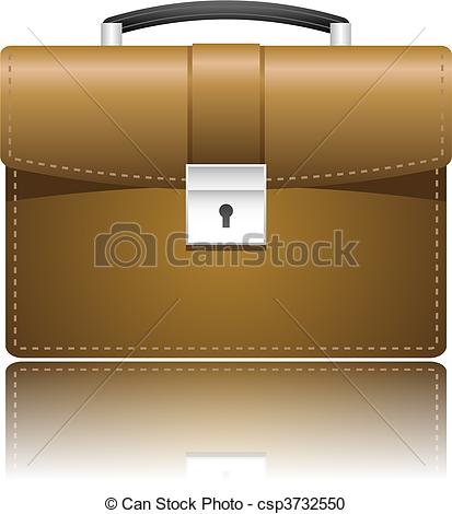 Vector Clipart of Leather case portfolio over white csp3732550.