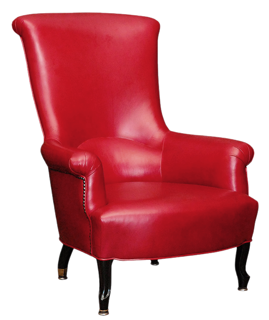 Red Leather Chair PNG Picture.