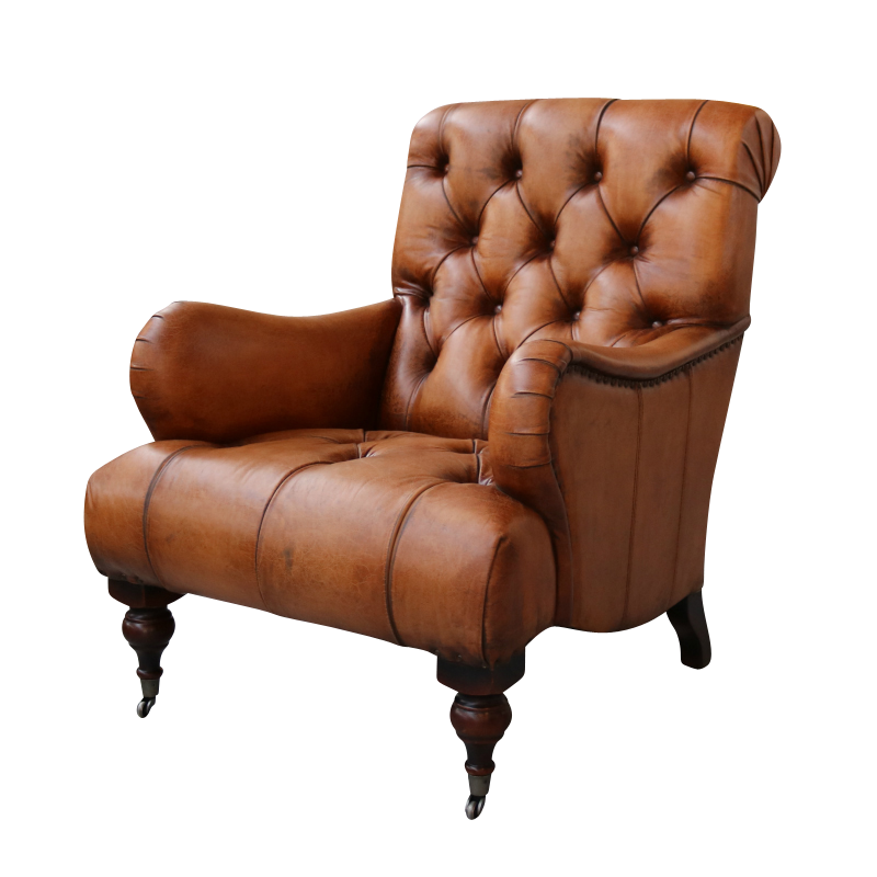 European Design Tufted High Back Leather Chair.