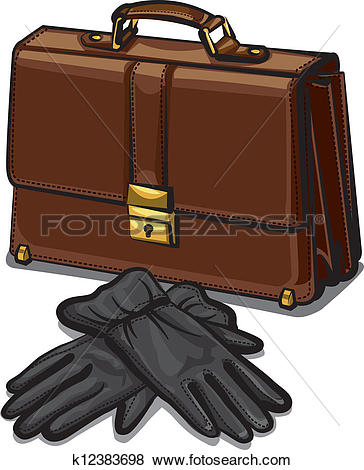 Clip Art of leather briefcase and gloves k12383698.