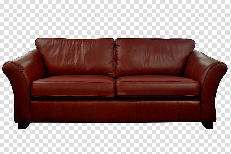 Sofa, brown leather couch illustration transparent.