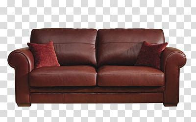 Sofa, brown leather couch transparent background PNG clipart.