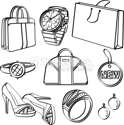 Shopping Set And Consumer Goods Collection Vector Art.