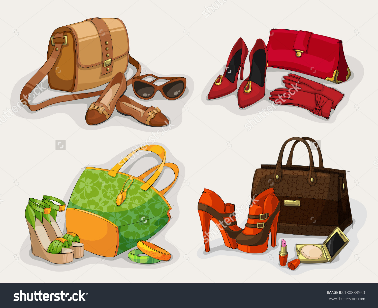 Collection Women Fashion Bags Casual Shoes Stock Vector 180888560.
