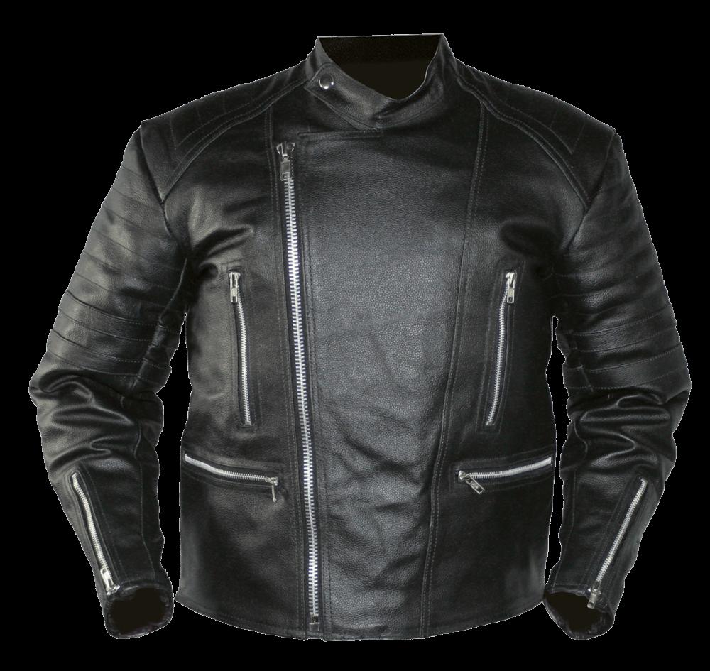 Black Leather Jacket transparent PNG.