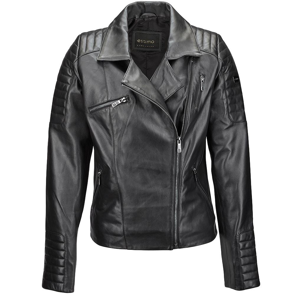 Vegetable Tanned Leather Biker Jacket Black : Eleonare.