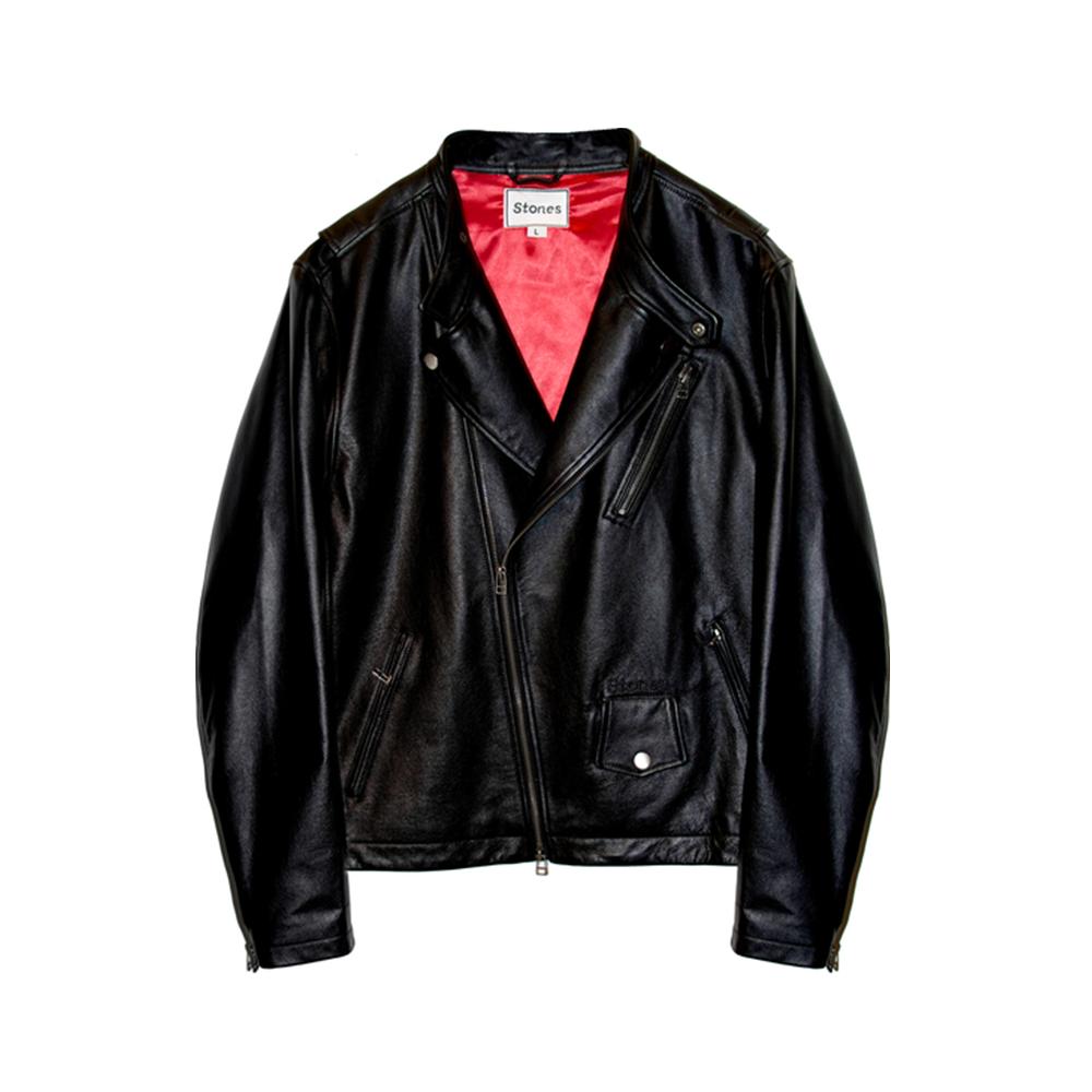 Logo Black Leather Jacket.