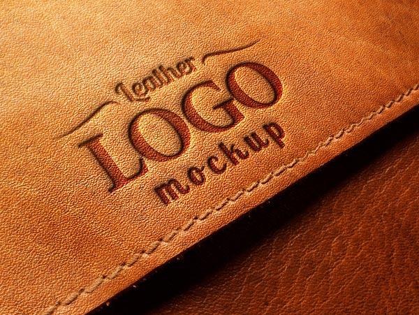 Embossed Leather Logo MockUp PSD.