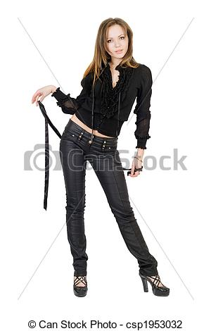 Stock Photo of Beautiful girl in black leather pants. Isolated on.