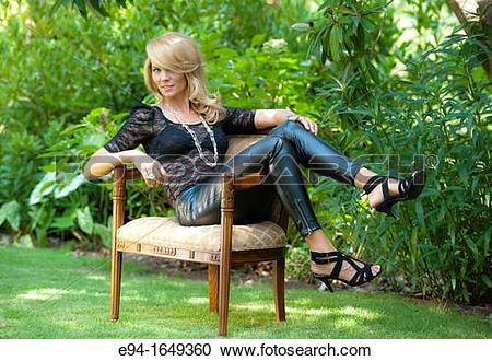 Stock Photography of Portrait of a 34 year old blond woman in.