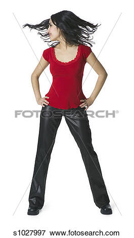 Picture of a young hispanic woman in a leather pants and a red.