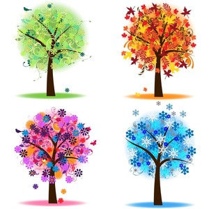 Four Seasons Trees Clipart Clip Art, Spring Summer Winter Fa.