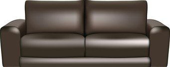 Brown Leather Sofa, Vector Image.