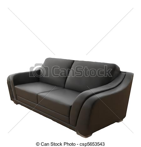 Vectors of Black Leather Sofa Isolated On White Background. Vector.